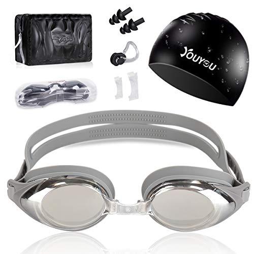 HAISSKY Gafas de Natación, Antiniebla Protección UV Sin Fugas Gafas Natación con Libre Clip de Nariz Enchufe de oído Visión Amplia Clara para Piscina Deportes Acuáticos (Plata)