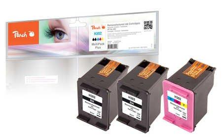 Peach Spar Pack Plus Druckköpfe kompatibel zu HP No. 302, F6U66A, F6U65A
