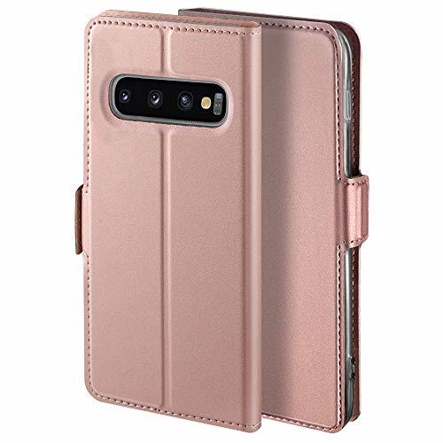YATWIN Handyhülle für Samsung Galaxy S10 Plus Hülle Premium Leder Flip Schutzhülle für Samsung Galaxy S10 Plus Tasche, Rose Gold