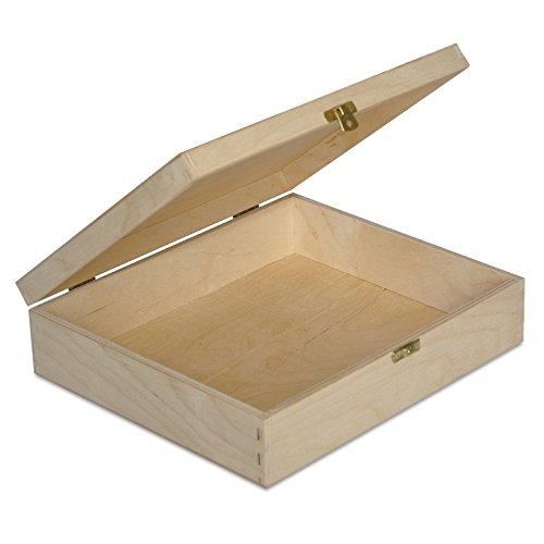 Creative Deco Plana Caja Madera para Decorar con Tapa | 29 x 25 x 6,5 cm | Decoracion Decoupage Almacenaje Herramientas Documentos Objetos de Valor Juguetes