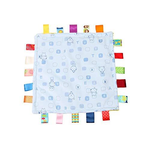Baby Boy bleu Tag Couverture de sécurité, Super Couverture souple Tag, Consolateur sécurité avec coloré Balises pour enfant Tout-petit Enfant