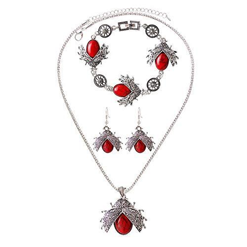 YAZILIND Moda Collar Pendientes Pulsera Metal Bohemia Mujeres joyería Conjunto estereoscópico Ladybug Colgante Collar Pendientes Pulsera Rojo