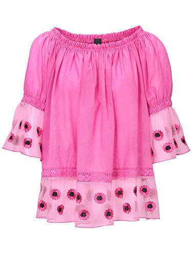Heine Shirt Carmen-Bluse Oversized Damen 3/4-Arm Bluse mit Spitzeneinsatz Freizeit-Bluse Sommer-Shirt Pink, Größe:42
