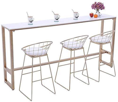 Household Products - Juego de taburetes de bar de hierro forjado dorado, juego de 3 taburetes altos para tienda, 30 pulgadas, cojín suave de cuero + patas estables, proceso de pintura a alta temper