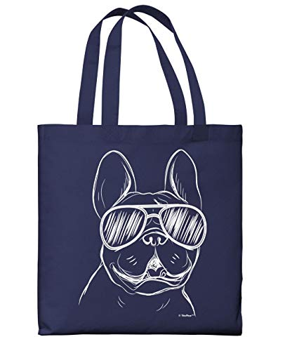 French Bulldog Accessories Frenchie Wearing Sunglasses Navy Canvas Tote Bag