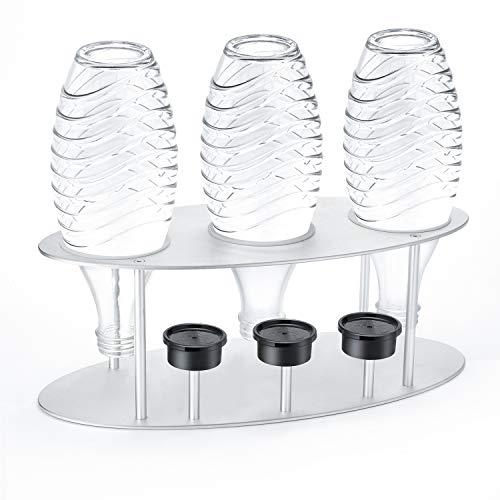 Jelly Comb Abtropfhalter, Flaschenhalter Abtropfständer Abtropfgestell mit Deckelhalterung aus Alulegierung für SodaStream Crystal, Glaskaraffen, Glasflasche