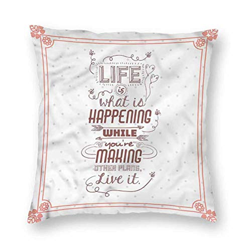 YUAZHOQI Pillow Covers 16' x 16', Quotes,Motivational Lettering, Square Decorative Pillowcases for Bench Couch Livingroom(1 Pack)