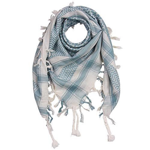 Superfreak Palituch - weiß - blau-hellblau - 100x100 cm - Pali Palästinenser Arafat Tuch - 100% Baumwolle