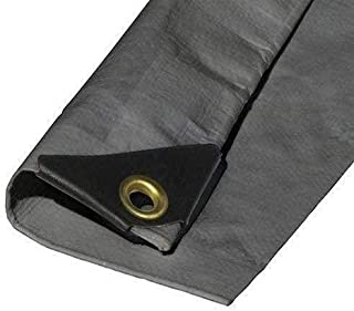 16'X24' Extra Heavy Duty 12 mil Silver Tarp 3 Ply Coated Reinforced Canopy 6 oz 3 Layer (Finished Size 15.6' X 23.6')