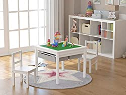 Best Wooden 2 in 1 Toddler Table and Chairs Set with storage space