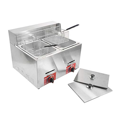 Commercial Stainless Steel Countertop Propane-LPG Gas Fryer Deep Fryer with 10L*2 Basket