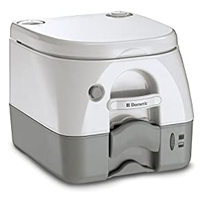 """Push-button flush clears bowl instantly 2. 6 gallon (9. 8 liter) waste tank capacity Fittings available for permanent installation (sold separately) Dimensions: 13. 5"""" D x 12. 5"""" H x 15. 5"""" W Toilet Color: Tan"""