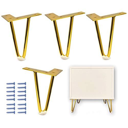 Pata de los Muebles,CHENKEE 4.7in 4 Piezas Metal Modernas Patas de Mesa Hairpin Horquilla Bricolaje Piernas de Mesa con Protectores de piso y Tornillos para Mejoras en el Hogar Mesa de Comedor Café