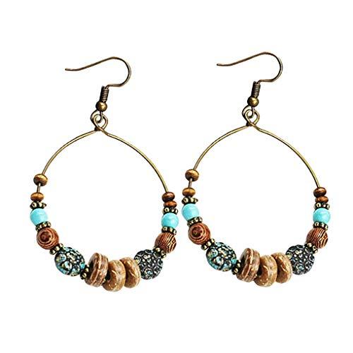 Kakiyi - 1 par de pendientes de estilo bohemio con forma de aro grande y étnico, estilo hexágono, partido de las mujeres de los pendientes, perlas de madera
