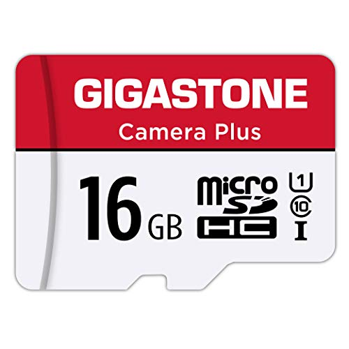Gigastone 16GB Micro SD Card, Camera Plus 90MB/s, Full HD Video, U1 C10 Class 10 Micro SDHC UHS-I Memory Card, with MicroSD to SD adapter