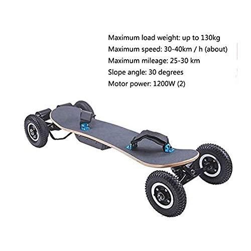 Nfudishpu Offroad Elektrisches Skateboard Motorisiertes Mountain Longboard mit All-Terrain-Doppelmotoren, 4 Rädern, drahtloser 9-Zoll-Reifenfernbedienung