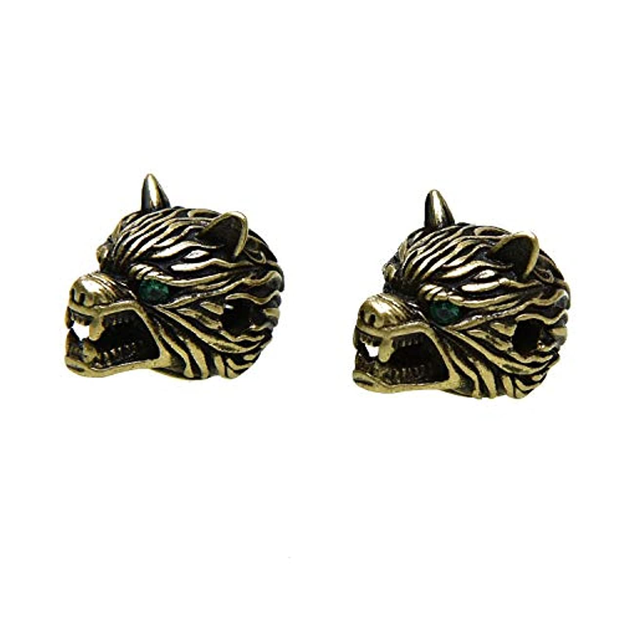 Monrocco 2pcs Antique Bronze Wolf Head Bracelet Charms Spacer Beads DIY Jewelry Findings for Jewelry Making Crafts