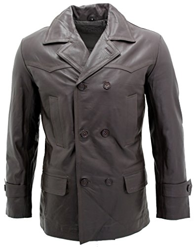 Marron Naval Allemand Dr Who Cow Hide Pea en Cuir Manteau Hommes Veste 3XL