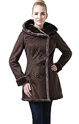 BGSD Women's Cindy Hooded Faux Shearling Walking Pea Coat Brown X-Large by