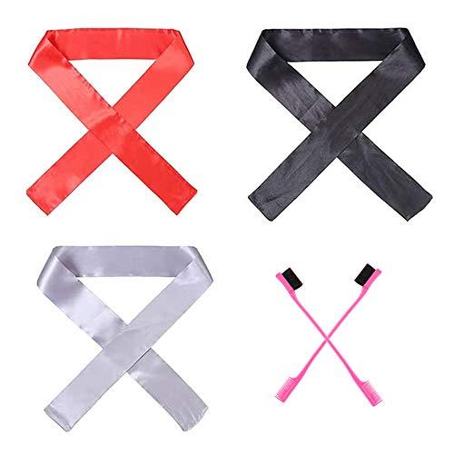 3 pièces écharpes en satin pour femmes pour la pose de cheveux perruque Grip Band écharpe pour perruque avant en dentelle (3 couleurs avec 2 pièces brosse de contrôle de bord de cheveux)