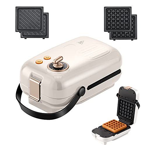 Auertech Waffle Maker, 2 in 1 Sandwich Maker 0-15 Minutes Adjustable Timer 650W Panini Press Grill with Detachable Non-stick Plates, Indicator Lights, Cool Touch Handle (White)