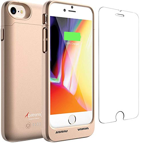 Alpatronix iPhone 8/7 Battery Case, 3200mAh Slim Portable Protective Extended Charger Cover with Qi Wireless Charging Compatible with iPhone 8 & iPhone 7 (4.7 inch) BX190 - (Gold)