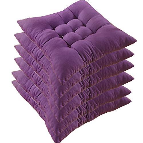 AGDLLYD Set di 6 Cuscini di Seduta Cuscino Sedia 40x40x5cm per Interno ed Esterno - Molti Colori - Imbottitura Spessa Cuscino Trapuntato/Cuscino per Pavimento (Viola Scuro)