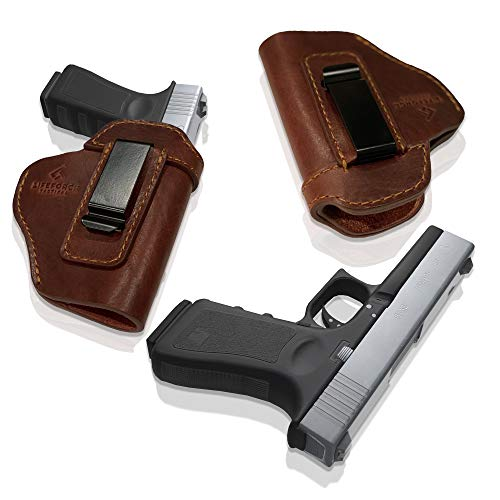 LifeForce Tactical IWB Leather Holster for Concealed Carry, Glock 17 19 22 23 32 33 36 43, S&W M&P Shield 9mm, Springfield XD-S, Similar Size Beretta, H&K, Kel-Tec, Ruger, Taurus (Brown, Right Handed)