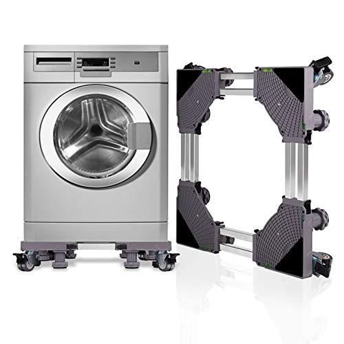 *SMONTER Untergestell Waschmaschine Sockel verschiebbar Podeste & Rahmen für Kühlschrank Multifunktionaler beweglicher Verstellbare Stand für Trockner oder Gefrierschrank,4Räder+8Füße,Grau*