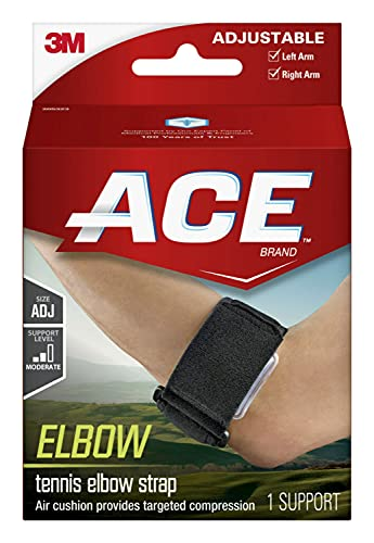 ACE-229032 Tennis Elbow Support, One Size Fits Most, Black, 1 Count (Pack of 1)