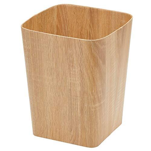 MDESIGN eckiger Mülleimer – kompakter Abfalleimer für Bad, Büro und Küche mit ausreichend Platz für Müll – dekorativer Papierkorb aus Stabiler Pappe – naturfarben