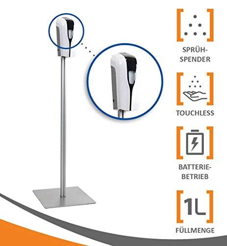 MyMAXXI | Mobiler Hand Desinfektionsmittelspender Station Sensor SHOP Spender Set 6x 1L Desinfektionsmittel stehend automatisch | touchless disinfection | Desinfektionsspender Standfuß