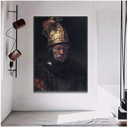 Rembrandt Harmenszoon van Rijn El hombre con el casco dorado Cuadro en lienzo Pintura para pasillo Decoración del hogar-50x70cm Sin marco