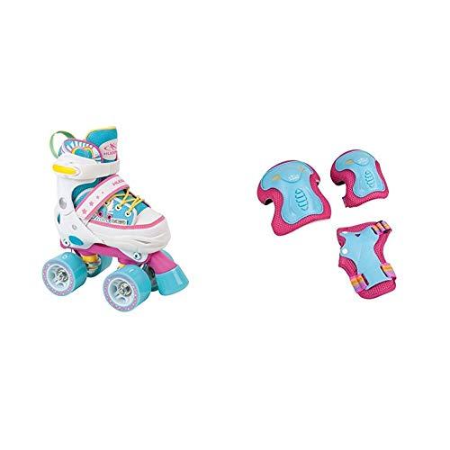 HUDORA Rollschuhe Kinder Mädchen Skate Wonders - verstellbar, Roller-Skates, Disco-Roller, Gr. 28-31, 22036 & Protektoren Kinder Skate Wonders, Protektoren-Set Inliner, Gr. S, 83317