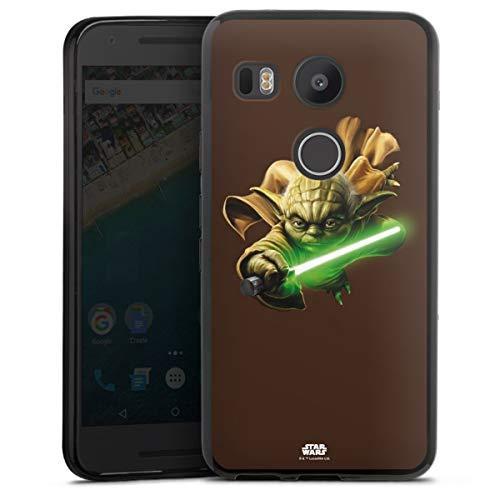 DeinDesign Silikon Hülle kompatibel mit Google Nexus 5X Case schwarz Handyhülle Star Wars Yoda Fanartikel