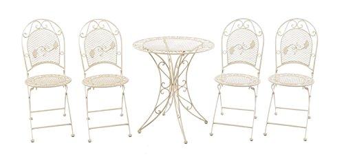 aubaho Juego de Muebles de jardín Mesa y 4 sillas de Hierro Muebles de jardín
