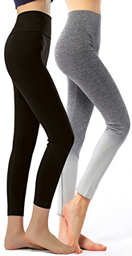 RUNNING GIRL Ombre Yoga Pants Ultrasoft Performance Active Stretch High Waisted Running Leggings (S/M, Grey)