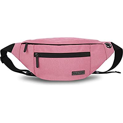 MAXTOP Bumbag Waist Fanny Pack for Men Women Unisex Bum Bag with Headphone Jack and 4-Zipper Pockets Adjustable Belt for Biking Running Jogging Traveling Outdoors Workout Cycling Fitness and Hiking