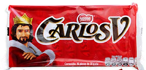 Carlos V Milk Chocolate 16 Pack, 20g Each Authentic Mexican Candy with Free Chocolate Kinder Bar Included