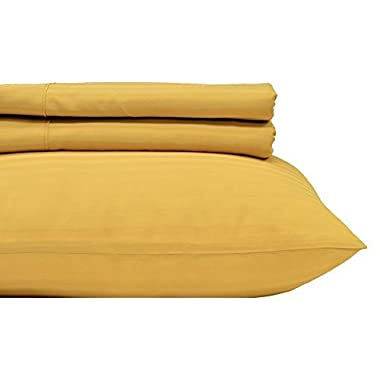 Royal Hotel's Stripe Gold 600-Thread-Count 4pc Queen Bed Sheet Set 100% Cotton, Sateen Stripe, Deep Pocket