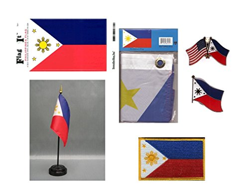 Philippines Heritage Flag Pack - Includes a Filipino 3x5' Flag, Vinyl Flag Decal, One Single & One Double Friendship Flag Lapel Pin, Miniature Desk Flag with Stand & One Iron-On Flag Patch