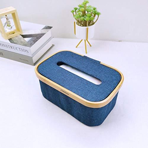 X&M Caja de Tejido Roble Rectangular, Caja de Cubierta de Caja de Tejido Facial, con Tapa de Madera, Utilizado para la Superficie del Lavabo del baño del hogar (23x15x10cm)