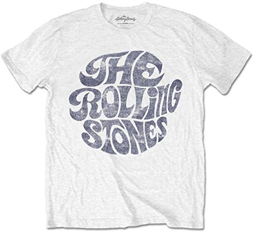 Rolling Stones 'Vintage 70s Logo' (White) T-Shirt (Small)