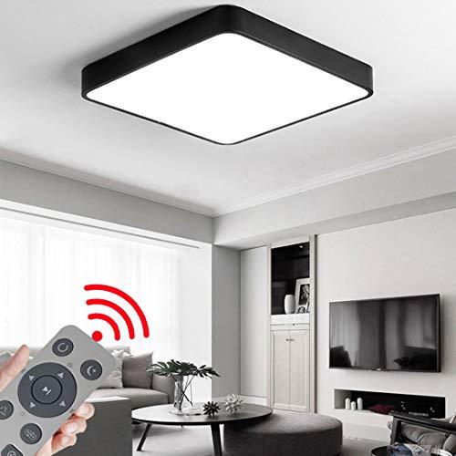 CASNIK 36W LED Deckenleuchte Lampe Deckenlampe für Wohnzimmer,Energie Sparen Licht, Dimmbar (3000-6500K) Warmweiß,Natürliches Weiß,KaltWeiß Mit Fernbedienung (Schwarz-36W Dimmbar Quadrat)