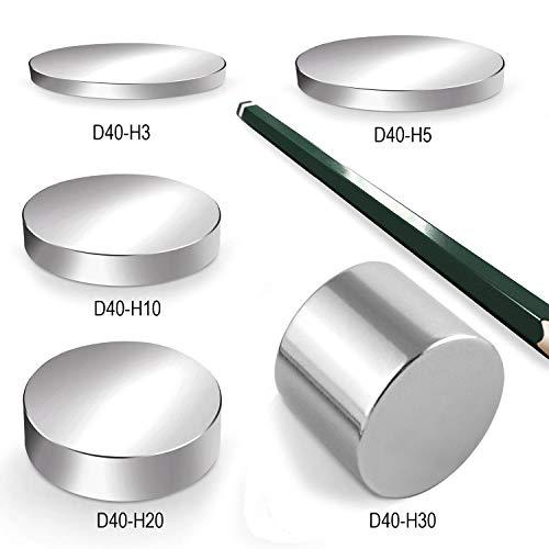 Neodym Magnet Magnete Scheibe groß ab 30mm 40KG bis ca. 1600KG Zugkraft N45 N52 vernickelt NdFeB, Scheiben:D40-H3mm N45 80KG (3St.)