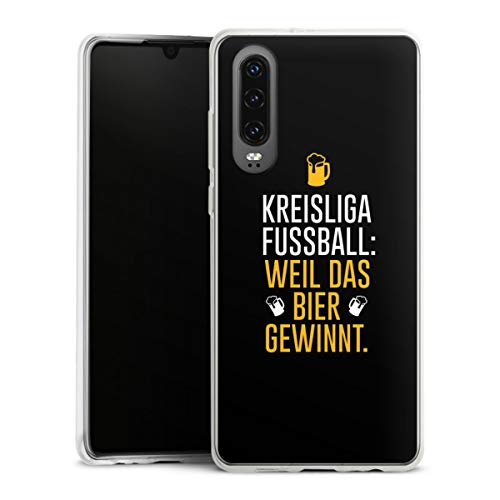 DeinDesign Slim Hülle extra dünn kompatibel mit Huawei P30 Silikon Handyhülle transparent Hülle Bier Kreisliga Fußball