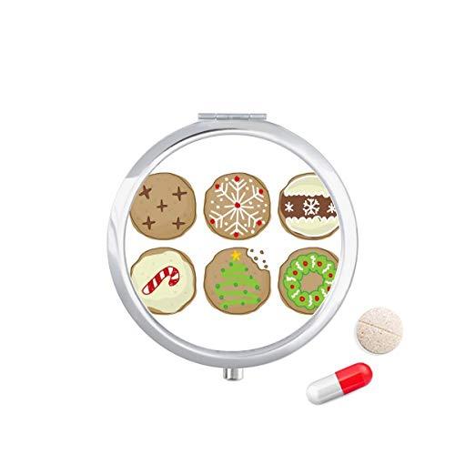 DIYthinker Cirkel Kerstboom groene Illustratie Reizen Pocket Pill Case Medicine Drug Opbergdoos Dispenser Spiegel Gift