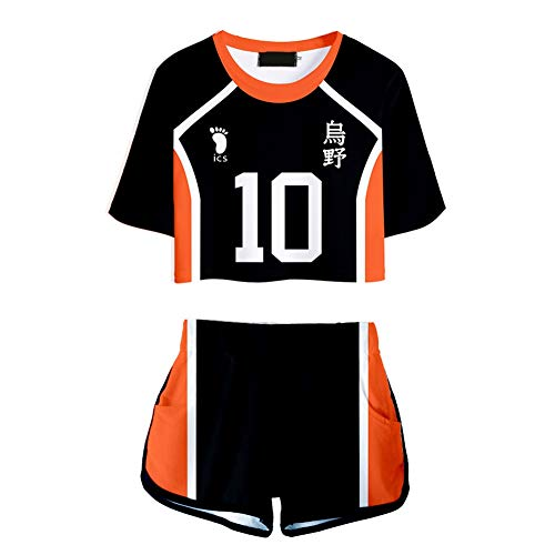 Sweet&rro17 Anime Haikyuu Cosplay 2-Piece Outfit Set, Karasuno High T-Shirt Shorts Crop Top Tee Casual Summer Sportsuit for Women Girls(M Shoyo Hinata)