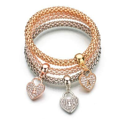 gespout 3pcs Pulsera para Mujer de Plata de oro dorado rosa cadena de maíz colgante a forma de corazón con diamantes Bisutería Mujer Pulseras Ideal regalo para cumpleaños, Navidad, boda, San Valentín
