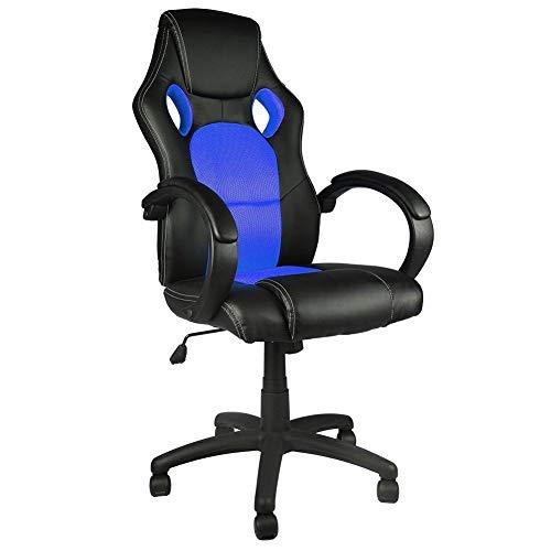 BAKAJI Sedia Sportiva Poltrona Direzionale da Ufficio 4 Ruote Girevole 360° Modello Racer Gaming Design Extra Ecopelle Nero e Tessuto Blu